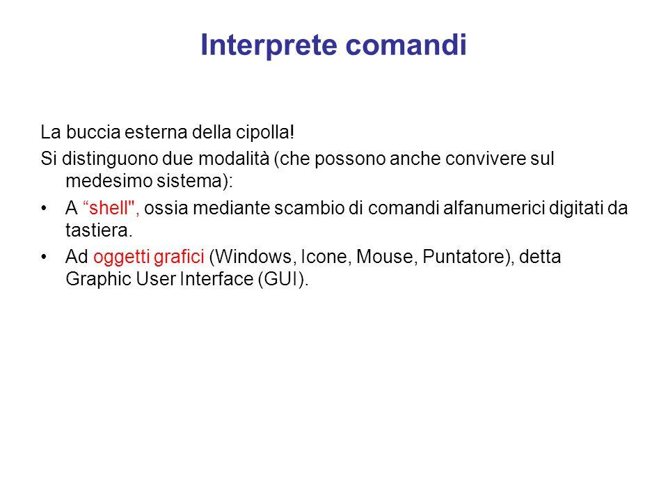 I programmi di controllo di ciascuna periferica Sono detti driver: essi sono specifici di ogni periferica; Sono specifici di ogni CPU. Debbono essere