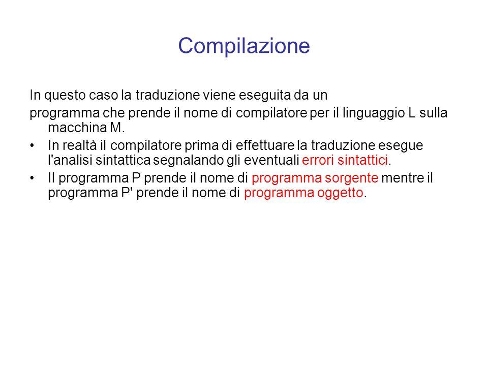 Compilazione La compilazione può essere descritta nel modo seguente: per eseguire su una macchina M un programma P scritto in un linguaggio ad alto li