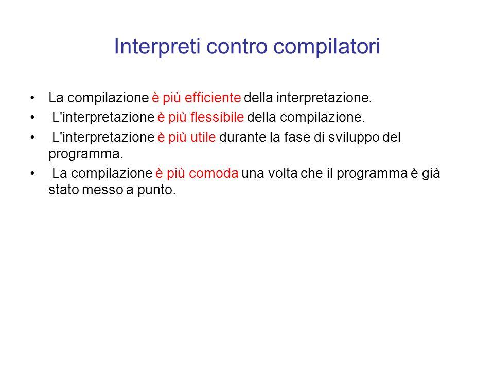 Interpretazione L'idea alla base dell'interpretazione e quella di tradurre il programma durante la sua esecuzione: quando il programma P in un linguag