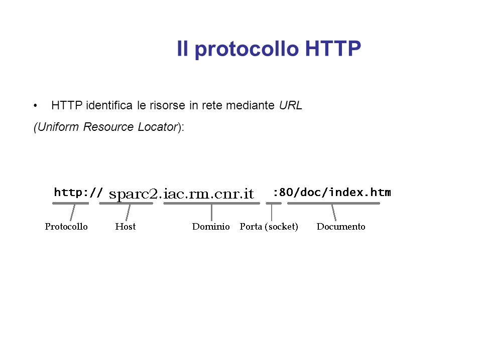 Il protocollo HTTP È gestito da un software (server HTTPD) residente sugli host che intendono essere fornitori di informazioni. Chi vuole accedere all