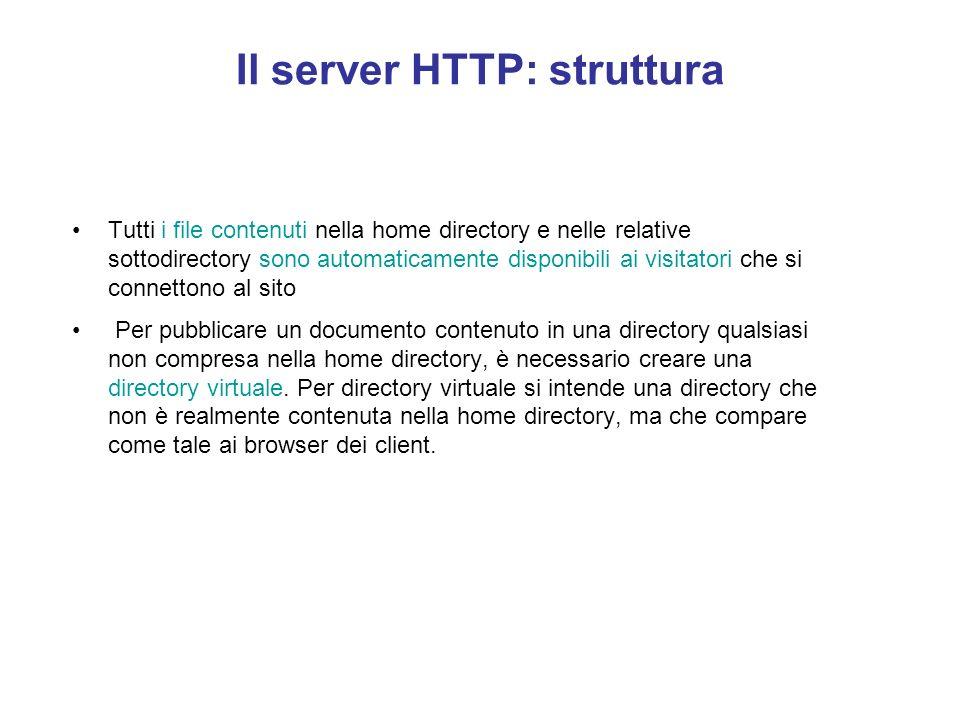 Il server HTTP: struttura In ogni sito Web deve esistere una home directory. La home directory rappresenta il punto di partenza per i visitatori che e