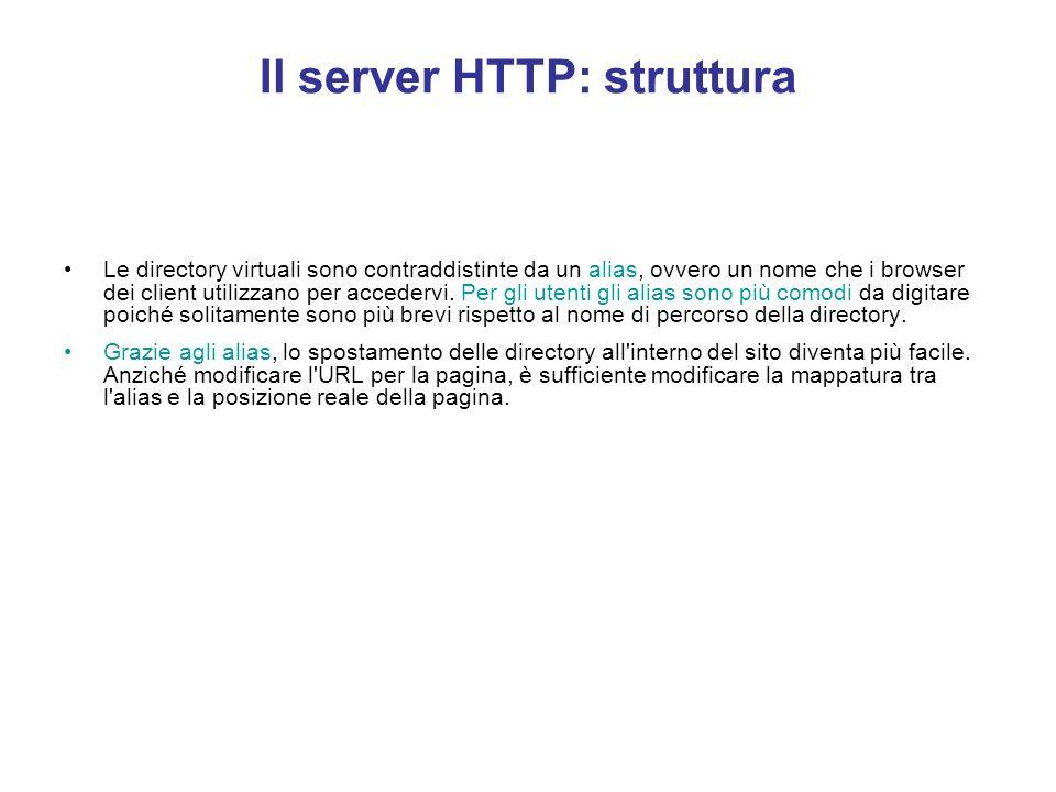 Il server HTTP: struttura Tutti i file contenuti nella home directory e nelle relative sottodirectory sono automaticamente disponibili ai visitatori c