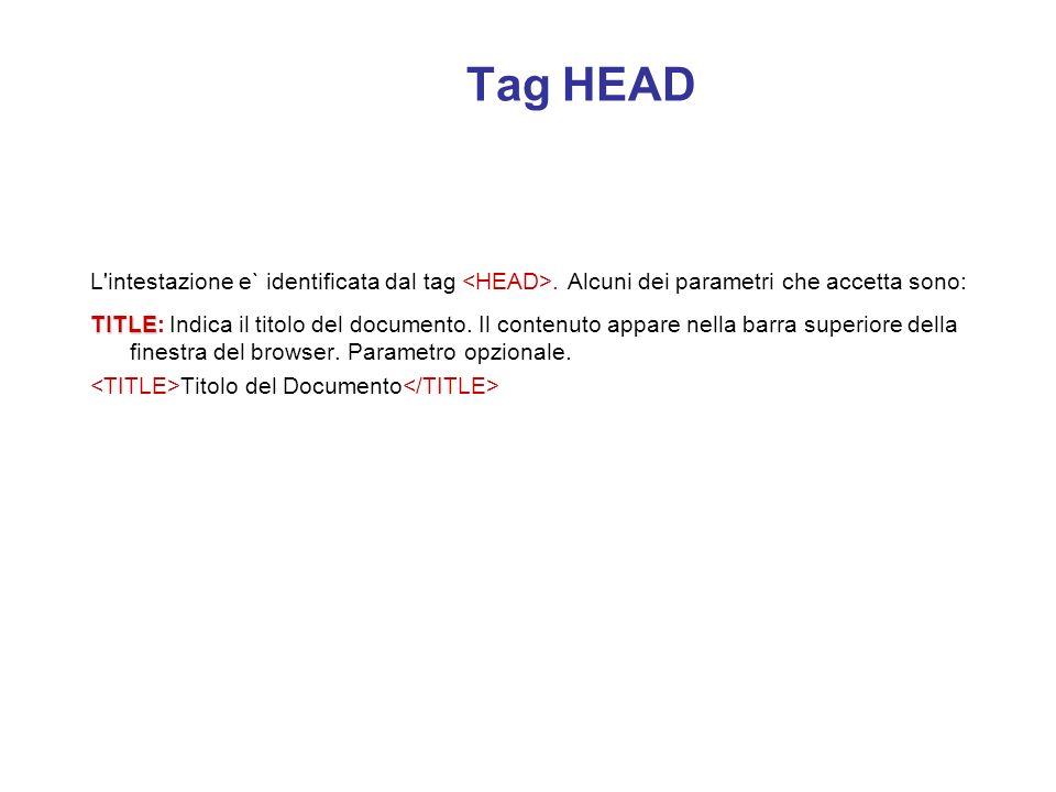 Struttura della pagina HTML La pagina html e` strutturata in due parti principali: l'intestazione (head) ed il corpo del documento (body). Per convenz