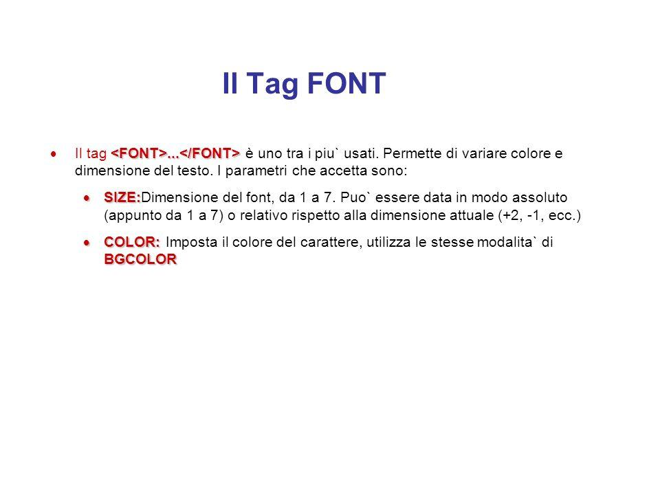Intestazioni … n=1, 2, ….., 6 Esistono due modi fondamentali per variare le dimensioni del carattere nelle pagine html: l'uso delle intestazioni e deg