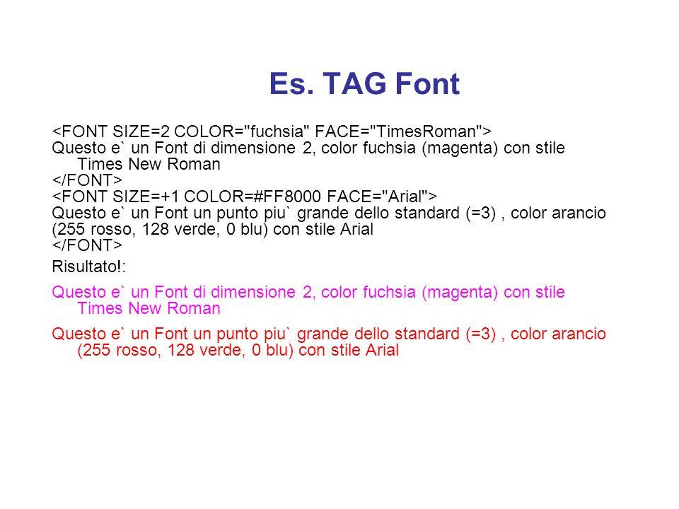 Il Tag FONT... Il tag... è uno tra i piu` usati. Permette di variare colore e dimensione del testo. I parametri che accetta sono: SIZE: SIZE:Dimension