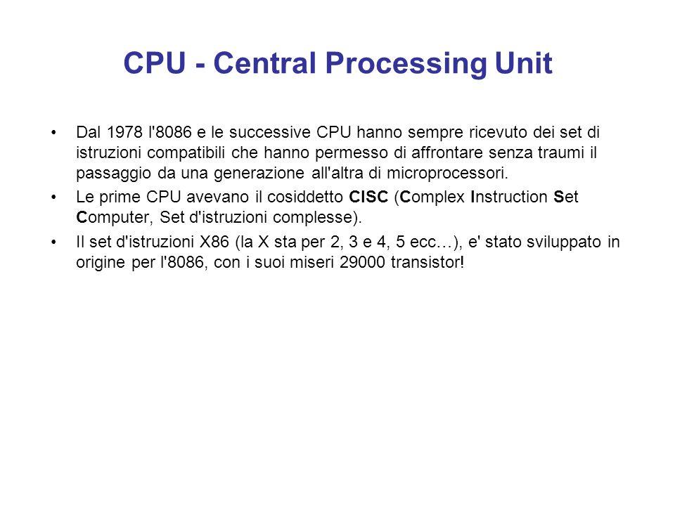 Il compito piu' importante per la CPU consiste nel decodificare le istruzioni e nel localizzare i dati. La decodifica consiste nell'interpretare le is
