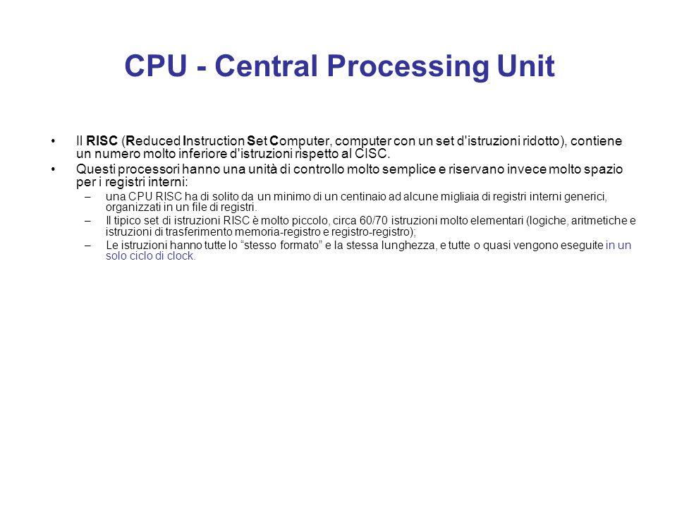CPU - Central Processing Unit Dal 1978 l'8086 e le successive CPU hanno sempre ricevuto dei set di istruzioni compatibili che hanno permesso di affron