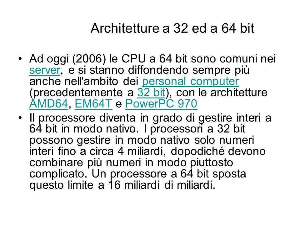 Architetture a 32 ed a 64 bit I termini 32 e 64 bit sono utilizzati in informatica per indicare che, in una determinata architettura, gli interi sono