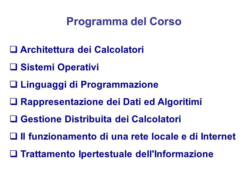 Obiettivi del Corso Questi obiettivi vengono raggiunti proponendo due tipi di nozioni: quelle più generali che riguardano l'informatica di base tese a