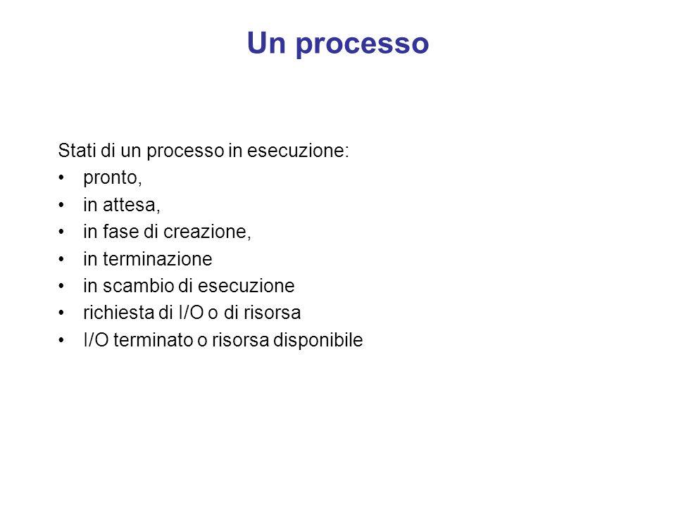Un processo Un processo è un programma in esecuzione, esso può essere identicato con la struttura di dati utilizzata dal sistema per gestirlo. Per des