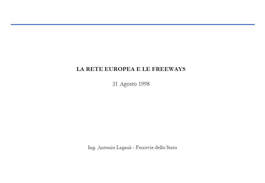 LA RETE EUROPEA E LE FREEWAYS 31 Agosto 1998 Ing. Antonio Laganà - Ferrovie dello Stato