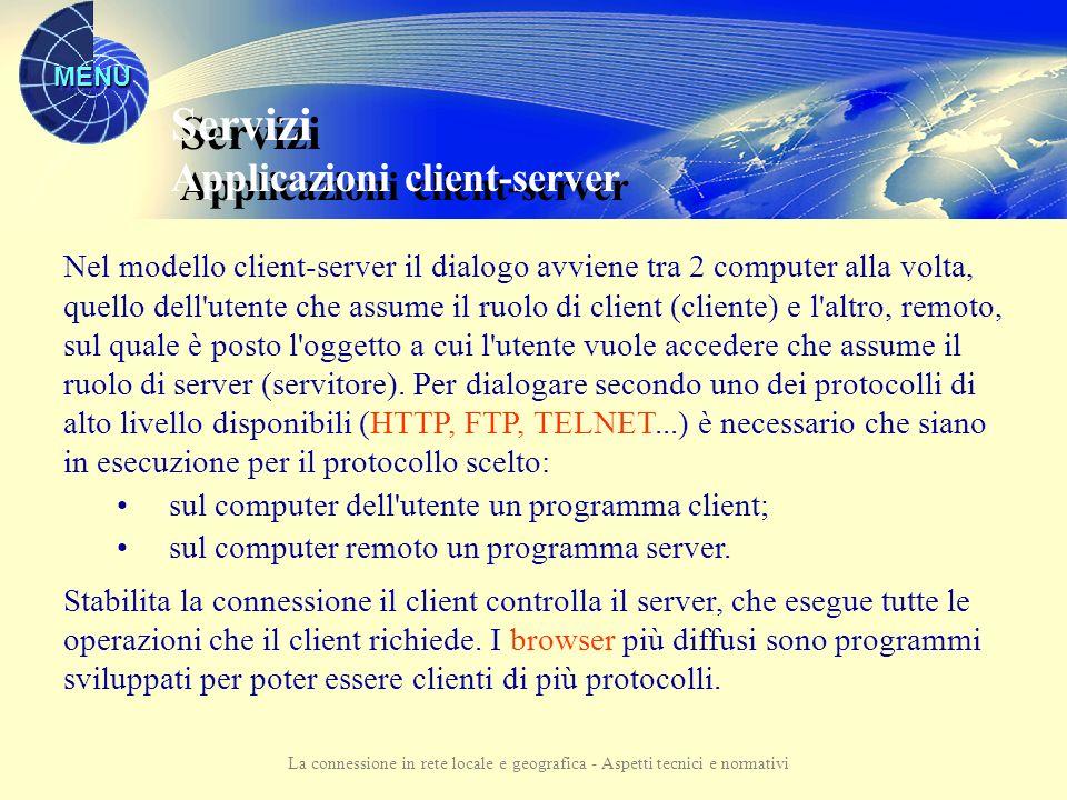 MENU La connessione in rete locale e geografica - Aspetti tecnici e normativi Servizi Applicazioni client-server Gestione dei servizi