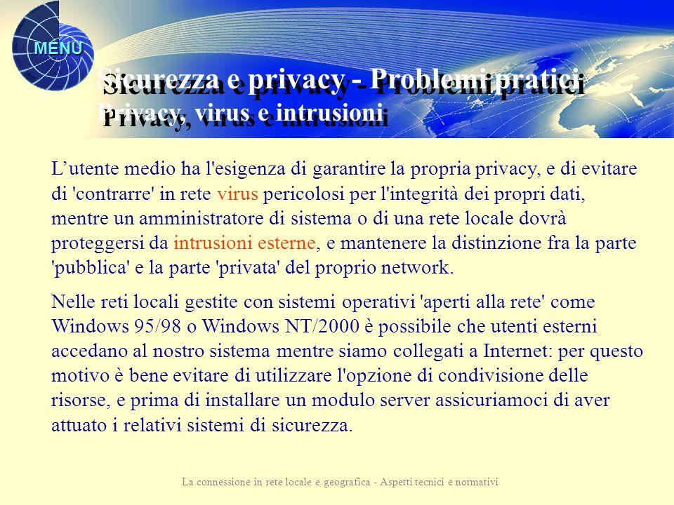 MENU La connessione in rete locale e geografica - Aspetti tecnici e normativi Problemi pratici Possibili soluzioni Sicurezza e privacy
