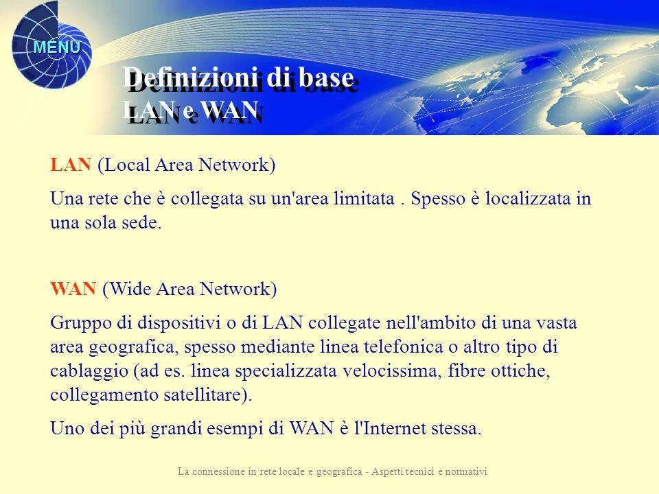 MENU La connessione in rete locale e geografica - Aspetti tecnici e normativi Rete informatica: insieme di PC e di altri dispositivi collegati tra loro tramite cavi.