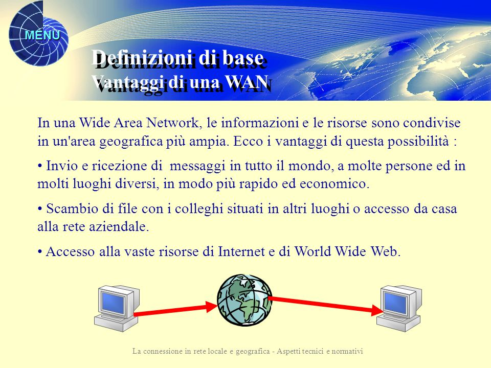MENU La connessione in rete locale e geografica - Aspetti tecnici e normativi Definizioni di base Vantaggi di una LAN Definizioni di base Vantaggi di una LAN In una rete le informazioni e le risorse possono essere condivise.