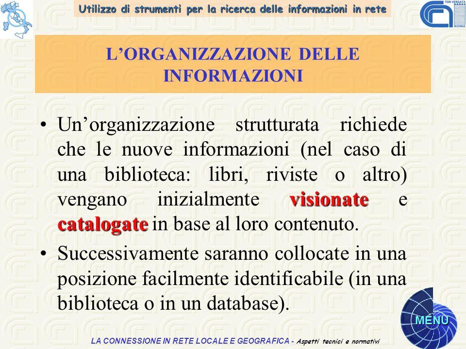 Utilizzo di strumenti per la ricerca delle informazioni in rete MENU Aspetti tecnici e normativi LA CONNESSIONE IN RETE LOCALE E GEOGRAFICA - Aspetti tecnici e normativi LORGANIZZAZIONE DELLE INFORMAZIONI visionate catalogateUnorganizzazione strutturata richiede che le nuove informazioni (nel caso di una biblioteca: libri, riviste o altro) vengano inizialmente visionate e catalogate in base al loro contenuto.