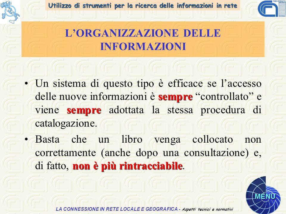 Utilizzo di strumenti per la ricerca delle informazioni in rete MENU Aspetti tecnici e normativi LA CONNESSIONE IN RETE LOCALE E GEOGRAFICA - Aspetti