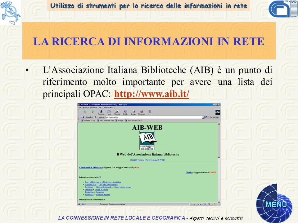 Utilizzo di strumenti per la ricerca delle informazioni in rete MENU Aspetti tecnici e normativi LA CONNESSIONE IN RETE LOCALE E GEOGRAFICA - Aspetti tecnici e normativi LA RICERCA DI INFORMAZIONI IN RETE LAssociazione Italiana Biblioteche (AIB) è un punto di riferimento molto importante per avere una lista dei principali OPAC: http://www.aib.it/http://www.aib.it/