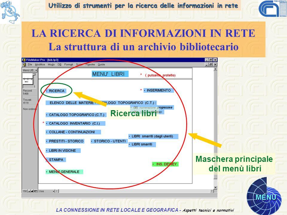 Utilizzo di strumenti per la ricerca delle informazioni in rete MENU Aspetti tecnici e normativi LA CONNESSIONE IN RETE LOCALE E GEOGRAFICA - Aspetti tecnici e normativi LA RICERCA DI INFORMAZIONI IN RETE La struttura di un archivio bibliotecario Maschera principale del menù libri Ricerca libri