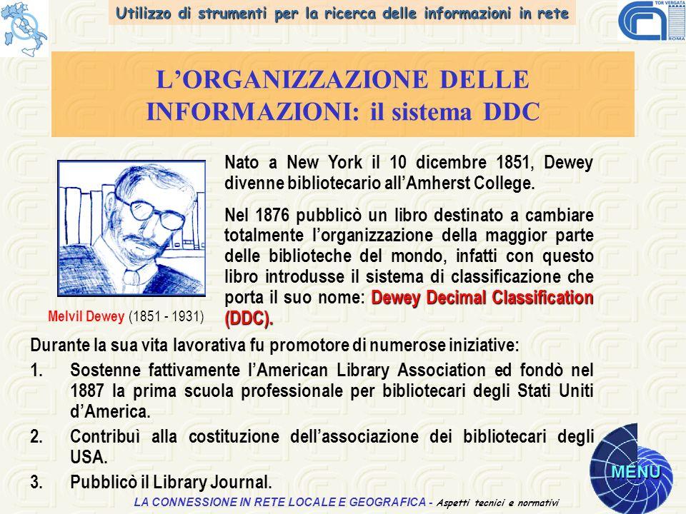 Utilizzo di strumenti per la ricerca delle informazioni in rete MENU Aspetti tecnici e normativi LA CONNESSIONE IN RETE LOCALE E GEOGRAFICA - Aspetti tecnici e normativi LORGANIZZAZIONE DELLE INFORMAZIONI: il sistema DDC Durante la sua vita lavorativa fu promotore di numerose iniziative: 1.Sostenne fattivamente lAmerican Library Association ed fondò nel 1887 la prima scuola professionale per bibliotecari degli Stati Uniti dAmerica.