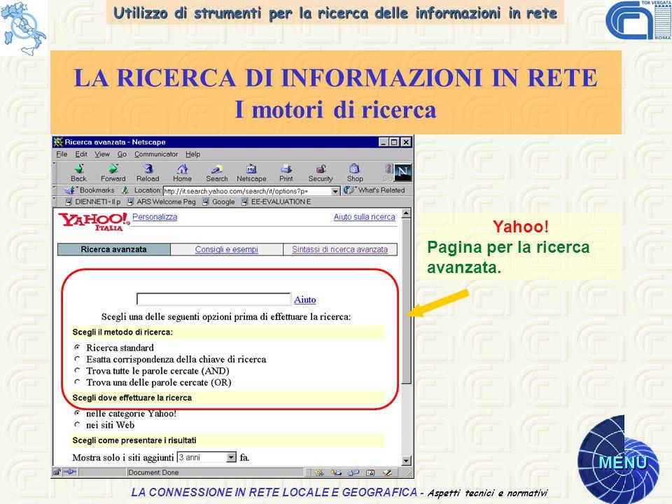 Utilizzo di strumenti per la ricerca delle informazioni in rete MENU Aspetti tecnici e normativi LA CONNESSIONE IN RETE LOCALE E GEOGRAFICA - Aspetti tecnici e normativi LA RICERCA DI INFORMAZIONI IN RETE I motori di ricerca Yahoo.
