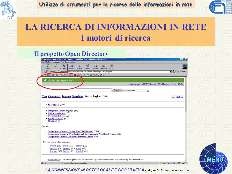 Utilizzo di strumenti per la ricerca delle informazioni in rete MENU Aspetti tecnici e normativi LA CONNESSIONE IN RETE LOCALE E GEOGRAFICA - Aspetti tecnici e normativi LA RICERCA DI INFORMAZIONI IN RETE I motori di ricerca Il progetto Open Directory