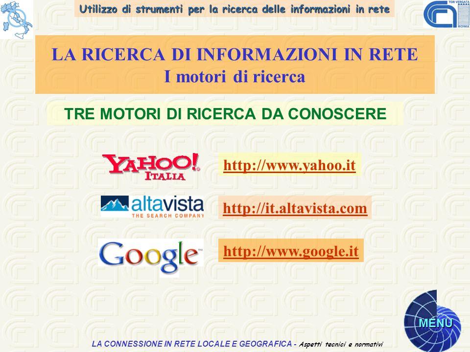 Utilizzo di strumenti per la ricerca delle informazioni in rete MENU Aspetti tecnici e normativi LA CONNESSIONE IN RETE LOCALE E GEOGRAFICA - Aspetti tecnici e normativi LA RICERCA DI INFORMAZIONI IN RETE I motori di ricerca TRE MOTORI DI RICERCA DA CONOSCERE http://www.yahoo.it http://it.altavista.com http://www.google.it