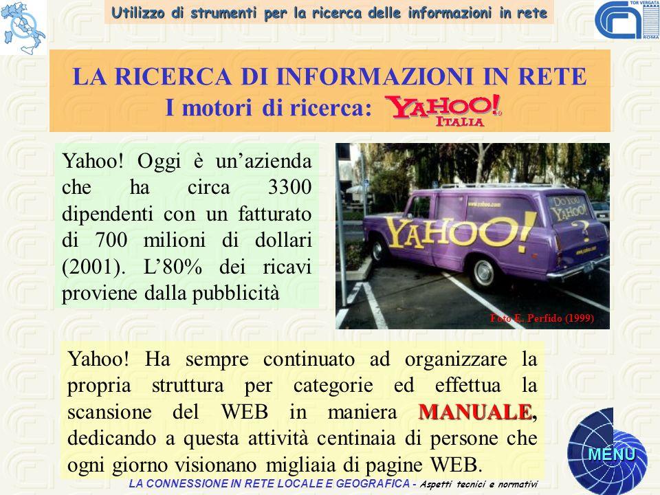 Utilizzo di strumenti per la ricerca delle informazioni in rete MENU Aspetti tecnici e normativi LA CONNESSIONE IN RETE LOCALE E GEOGRAFICA - Aspetti tecnici e normativi LA RICERCA DI INFORMAZIONI IN RETE I motori di ricerca: Yahoo.