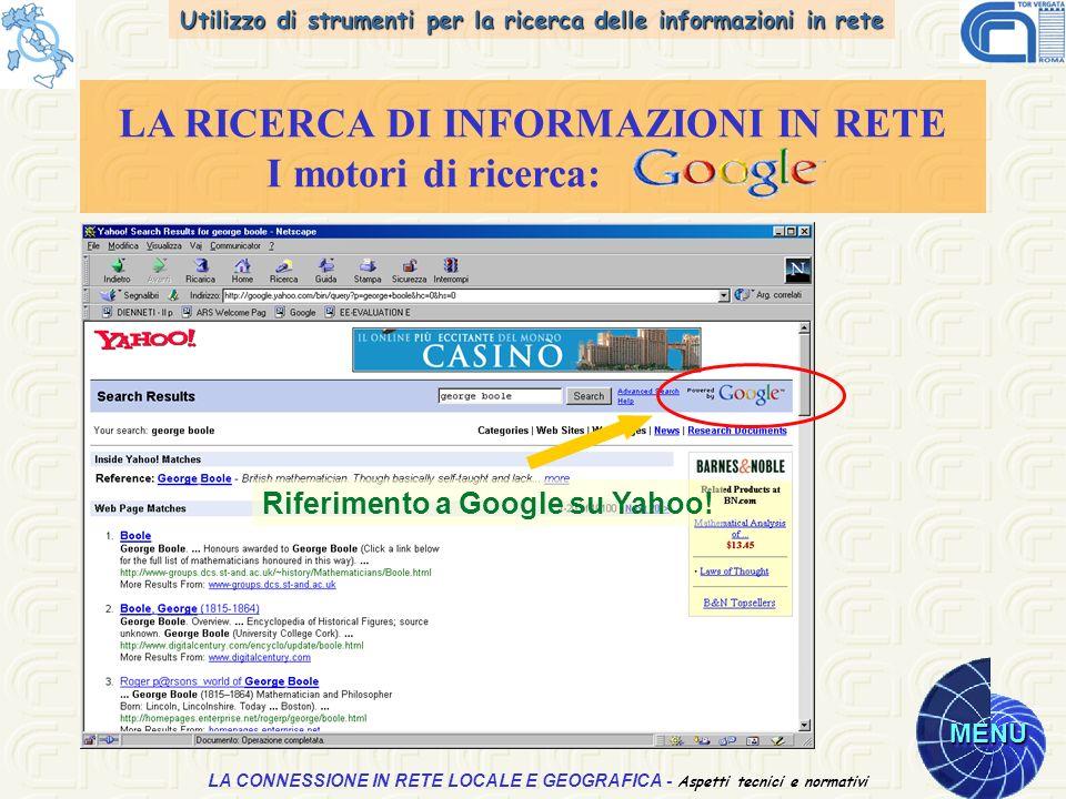 Utilizzo di strumenti per la ricerca delle informazioni in rete MENU Aspetti tecnici e normativi LA CONNESSIONE IN RETE LOCALE E GEOGRAFICA - Aspetti tecnici e normativi LA RICERCA DI INFORMAZIONI IN RETE I motori di ricerca: Riferimento a Google su Yahoo!