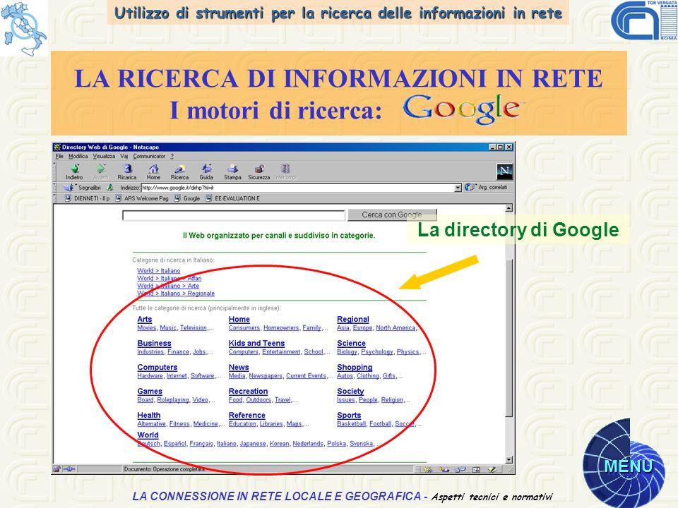 Utilizzo di strumenti per la ricerca delle informazioni in rete MENU Aspetti tecnici e normativi LA CONNESSIONE IN RETE LOCALE E GEOGRAFICA - Aspetti tecnici e normativi LA RICERCA DI INFORMAZIONI IN RETE I motori di ricerca: La directory di Google