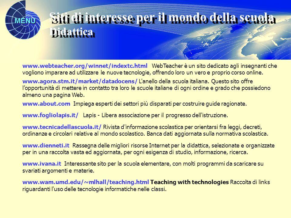 MENU www.webteacher.org/winnet/indextc.html WebTeacher è un sito dedicato agli insegnanti che vogliono imparare ad utilizzare le nuove tecnologie, off