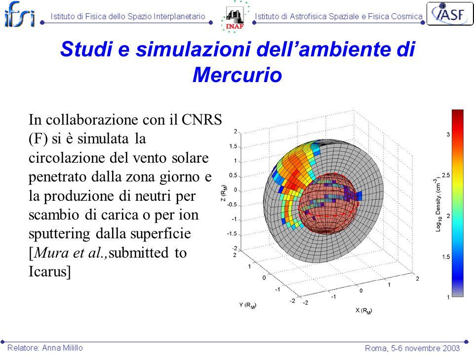Studi e simulazioni dellambiente di Mercurio In collaborazione con il CNRS (F) si è simulata la circolazione del vento solare penetrato dalla zona gio