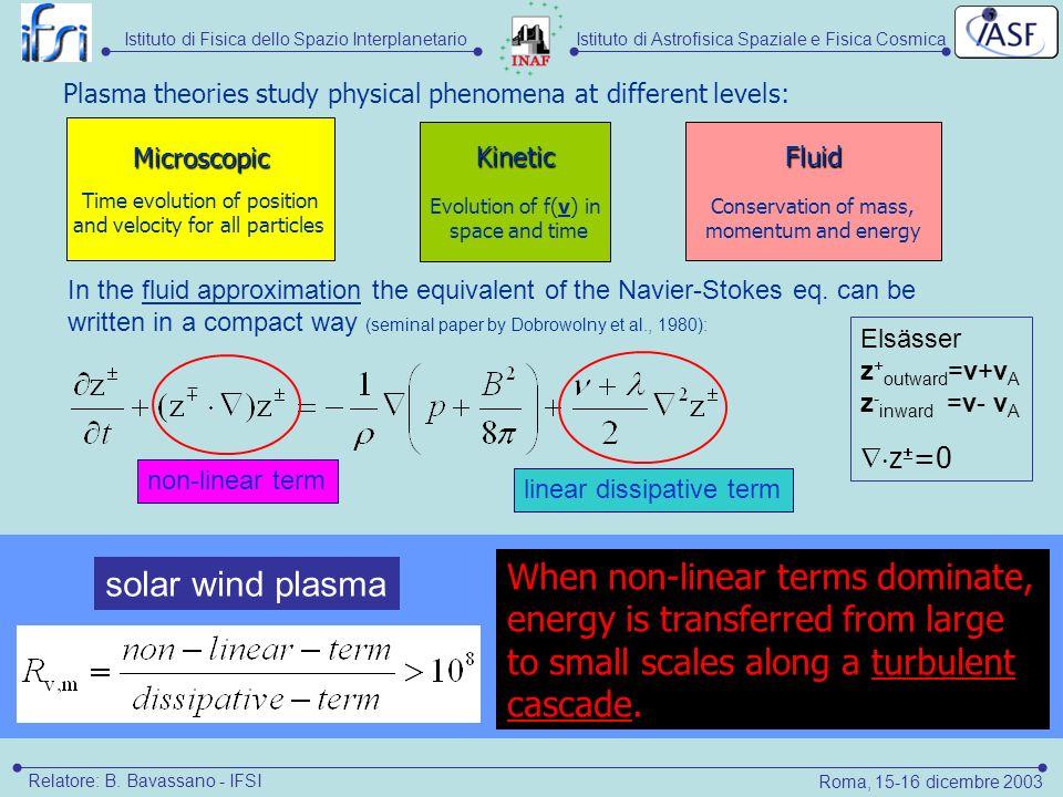 Istituto di Astrofisica Spaziale e Fisica CosmicaIstituto di Fisica dello Spazio Interplanetario Roma, 15-16 dicembre 2003 Relatore: B.
