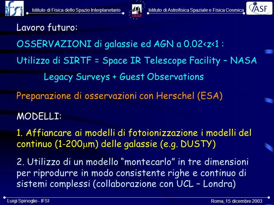 Istituto di Astrofisica Spaziale e Fisica CosmicaIstituto di Fisica dello Spazio Interplanetario Roma, 15 dicembre 2003 Luigi Spinoglio - IFSI 3.