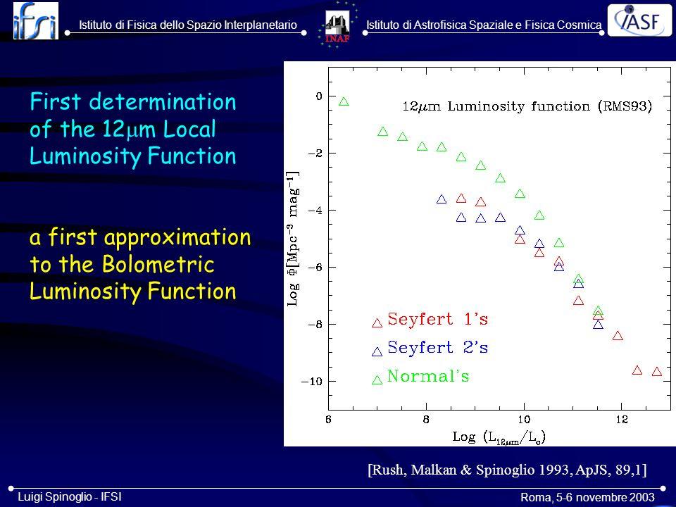 Istituto di Astrofisica Spaziale e Fisica CosmicaIstituto di Fisica dello Spazio Interplanetario Roma, 5-6 novembre 2003 Luigi Spinoglio - IFSI The IR