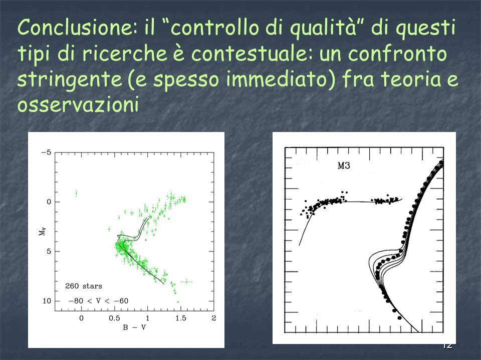 12 Conclusione: il controllo di qualità di questi tipi di ricerche è contestuale: un confronto stringente (e spesso immediato) fra teoria e osservazioni