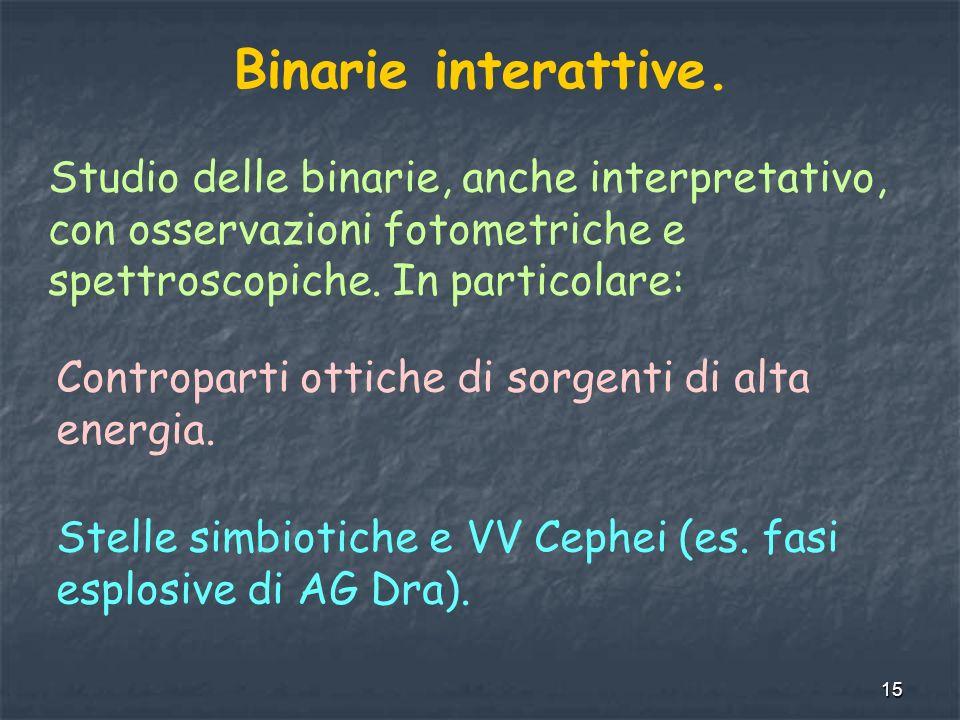 15 Binarie interattive. Studio delle binarie, anche interpretativo, con osservazioni fotometriche e spettroscopiche. In particolare: Controparti ottic