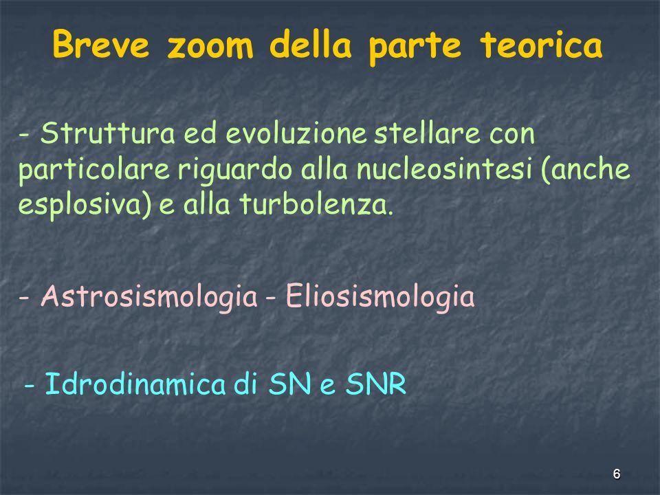 6 Breve zoom della parte teorica - Struttura ed evoluzione stellare con particolare riguardo alla nucleosintesi (anche esplosiva) e alla turbolenza.