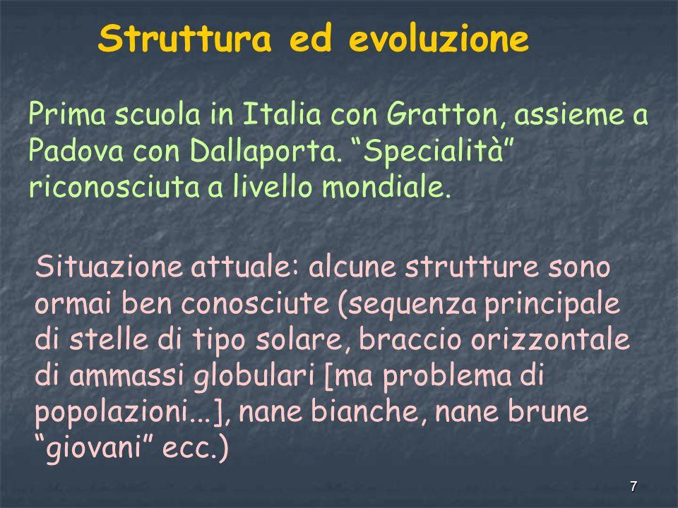 7 Struttura ed evoluzione Prima scuola in Italia con Gratton, assieme a Padova con Dallaporta.