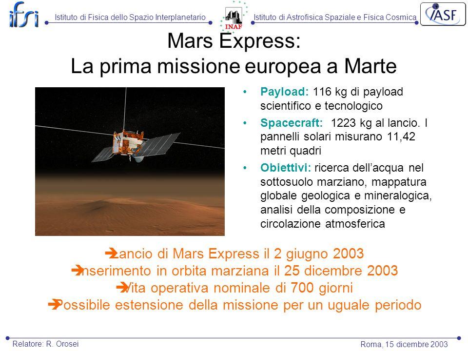 Mars Express: La prima missione europea a Marte Payload: 116 kg di payload scientifico e tecnologico Spacecraft: 1223 kg al lancio. I pannelli solari