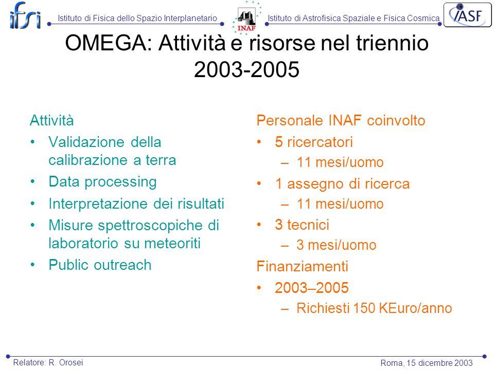 Istituto di Astrofisica Spaziale e Fisica CosmicaIstituto di Fisica dello Spazio Interplanetario Roma, 15 dicembre 2003 Relatore: R. Orosei OMEGA: Att