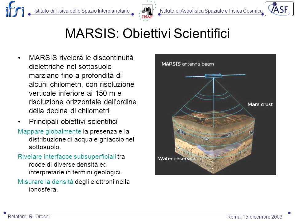 MARSIS: Obiettivi Scientifici MARSIS rivelerà le discontinuità dielettriche nel sottosuolo marziano fino a profondità di alcuni chilometri, con risoluzione verticale inferiore ai 150 m e risoluzione orizzontale dellordine della decina di chilometri.