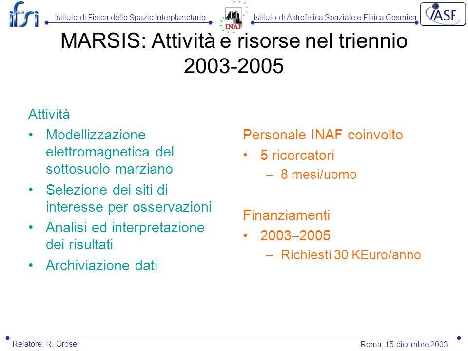 Istituto di Astrofisica Spaziale e Fisica CosmicaIstituto di Fisica dello Spazio Interplanetario Roma, 15 dicembre 2003 Relatore: R. Orosei MARSIS: At