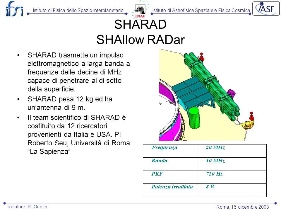 Istituto di Astrofisica Spaziale e Fisica CosmicaIstituto di Fisica dello Spazio Interplanetario Roma, 15 dicembre 2003 Relatore: R. Orosei SHARAD SHA