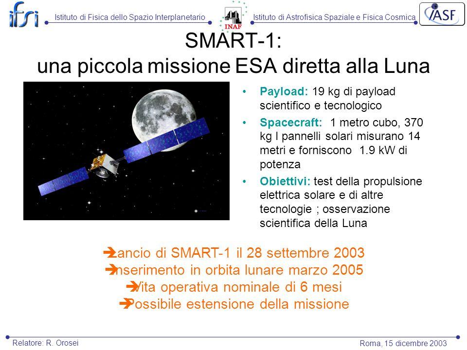 Istituto di Astrofisica Spaziale e Fisica CosmicaIstituto di Fisica dello Spazio Interplanetario Roma, 15 dicembre 2003 Relatore: R. Orosei SMART-1: u