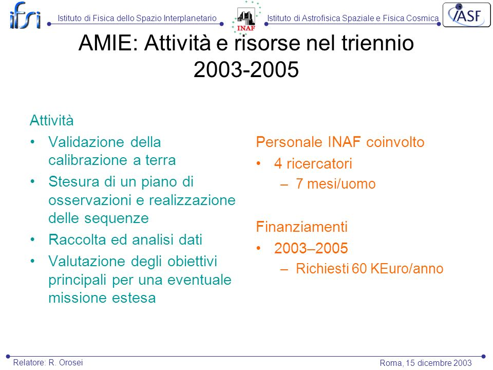 Istituto di Astrofisica Spaziale e Fisica CosmicaIstituto di Fisica dello Spazio Interplanetario Roma, 15 dicembre 2003 Relatore: R. Orosei AMIE: Atti