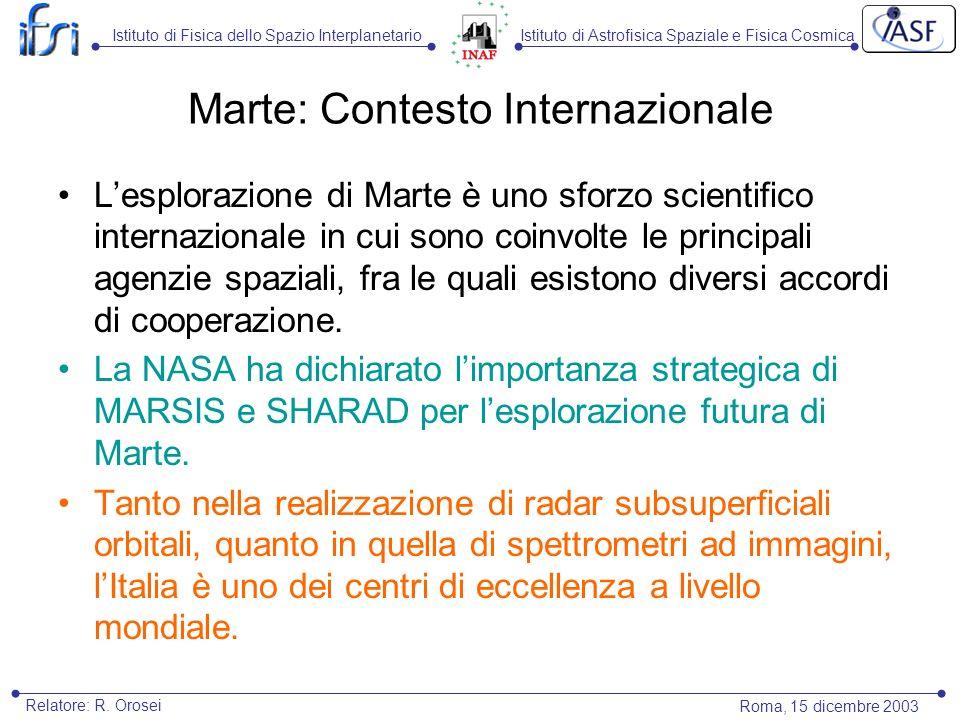 Istituto di Astrofisica Spaziale e Fisica CosmicaIstituto di Fisica dello Spazio Interplanetario Roma, 15 dicembre 2003 Relatore: R. Orosei Marte: Con