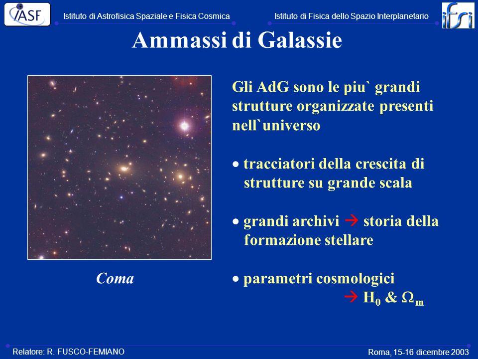Ammassi di Galassie Gli AdG sono le piu` grandi strutture organizzate presenti nell`universo tracciatori della crescita di strutture su grande scala g