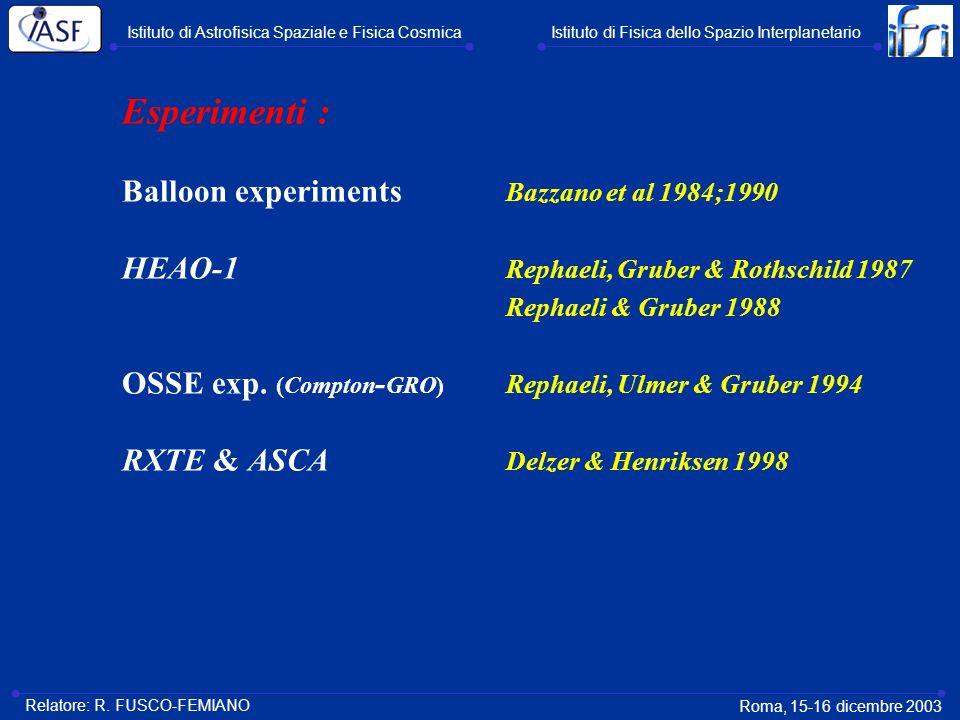 Esperimenti : Balloon experiments Bazzano et al 1984;1990 HEAO-1 Rephaeli, Gruber & Rothschild 1987 Rephaeli & Gruber 1988 OSSE exp. (Compton - GRO) R