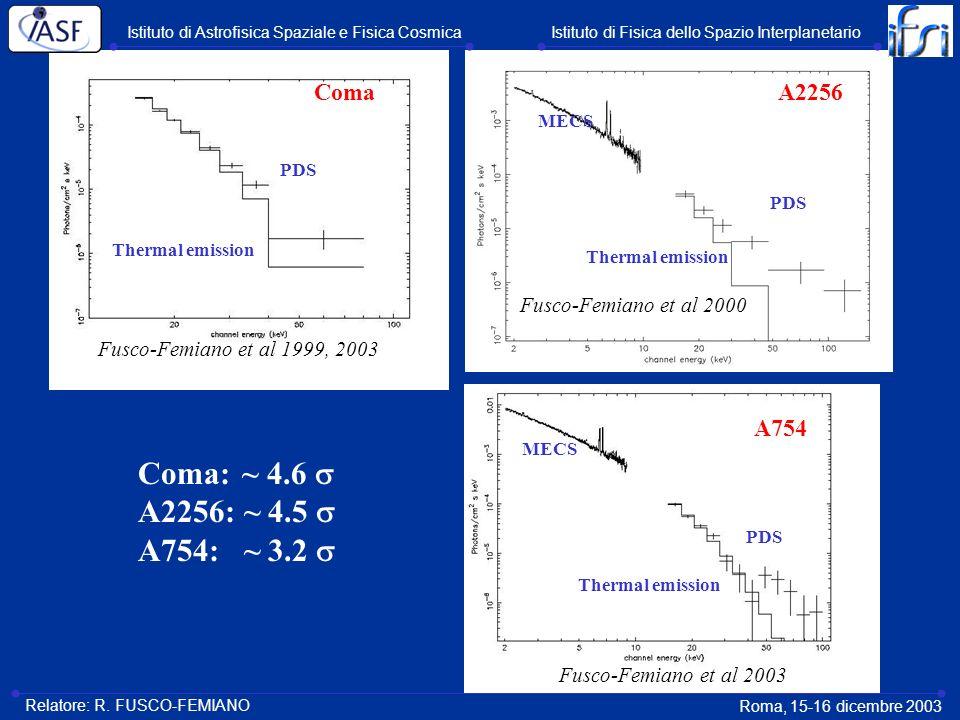 ComaA2256 A754 Fusco-Femiano et al 1999, 2003 Fusco-Femiano et al 2000 Fusco-Femiano et al 2003 PDS MECS PDS MECS PDS Thermal emission Coma: ~ 4.6 A22